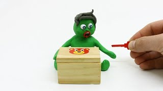 SUPERHERO BABY CAN NOT OPEN THE BOX - Stop Motion Kids Play Doh Cartoons