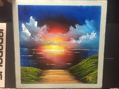 #112. Glass sunset, painted on Glass (ACRYLIC)