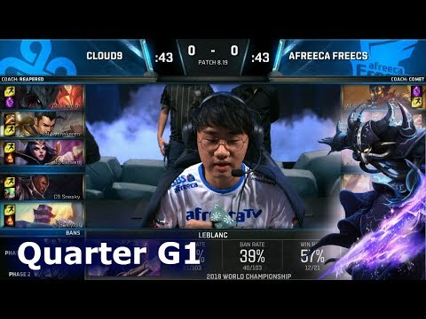 C9 vs AFS Game 1 | Quarter Final S8 LoL Worlds 2018 | Cloud 9 vs Afreeca Freecs G1