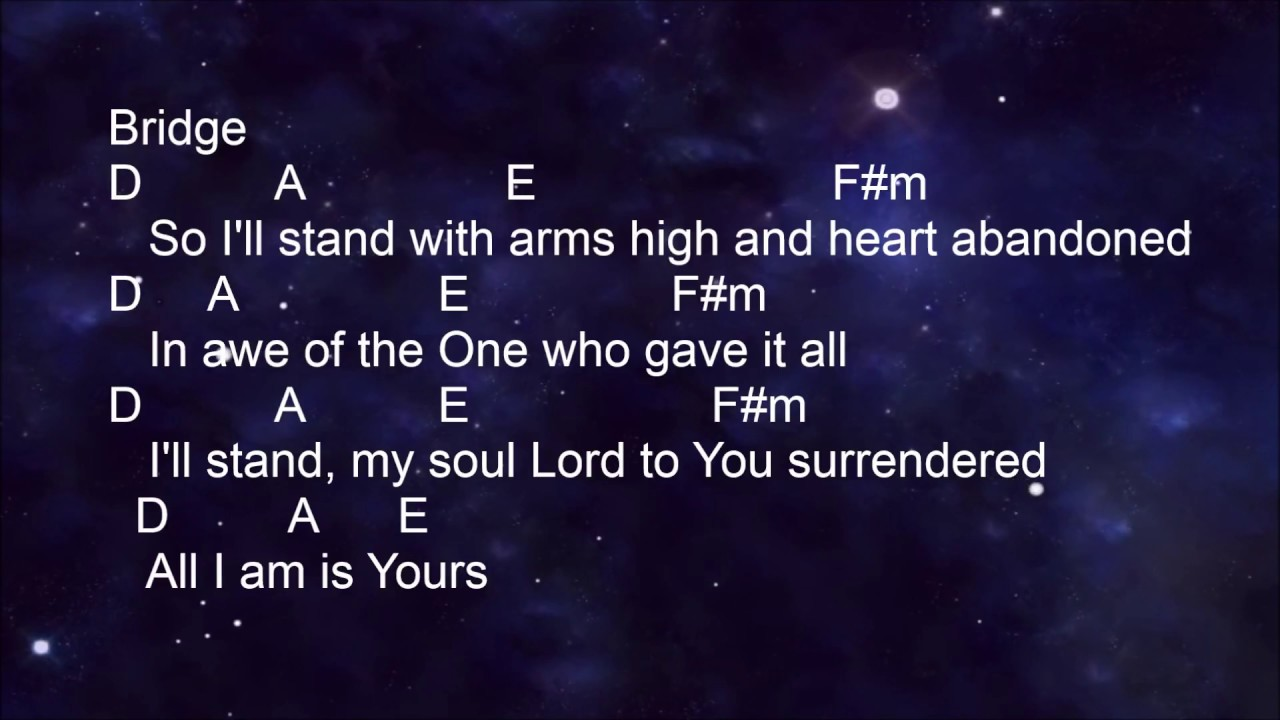 Hillsong   The Stand   Lyrics and Chords key of A