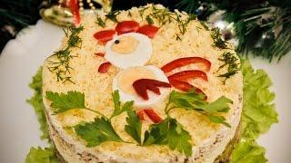 """Новогодний салат """"Огненный петух"""". Рецепт праздничного слоеного салата."""