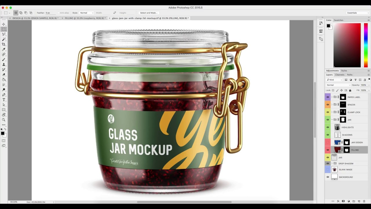 Download 100ml Glass Strawberry Jam Jar Clamp Lid Mockup Half Side View Yellowimages