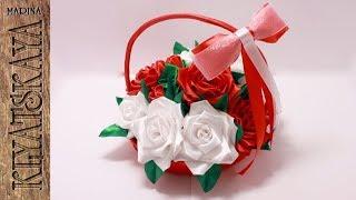 Корзинка с розами/(ENG SUB)/ Rose basket/Свадебные аксессуары Марины Кляцкой