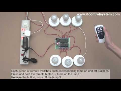 6 Channel Dc Rf Remote Control Switch 6 Lights On And Off Youtube