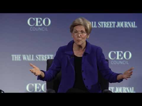 Senator Elizabeth Warren speaks to the Wall Street Journal's CEO Council