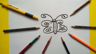 #kartikkvArt How to Draw Butterfly Step by Step-Easy-Learn to draw-beginners-for kids.