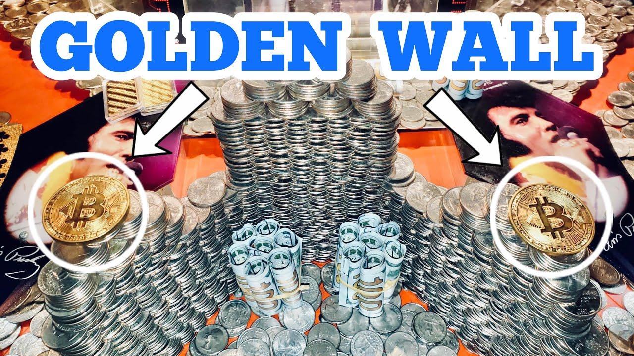 THE GOLDEN WALL Inside The High Limit Coin Pusher Jackpot WON MONEY ASMR
