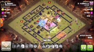 Clash of Clans, Valkyrie attack, TH10 100%, 3 Stars in clan wars, attack 21