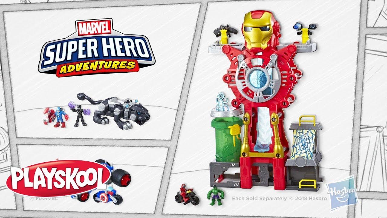 Super Hero Adventures Playskool Heroes Marvel Iron Man Headquarters Playset ...