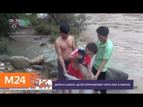 Детей одной из вьетнамских деревень переправляют через реку в пакетах - Москва 24