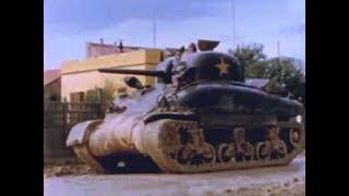 Color Film of M4 Sherman Tank in WW2