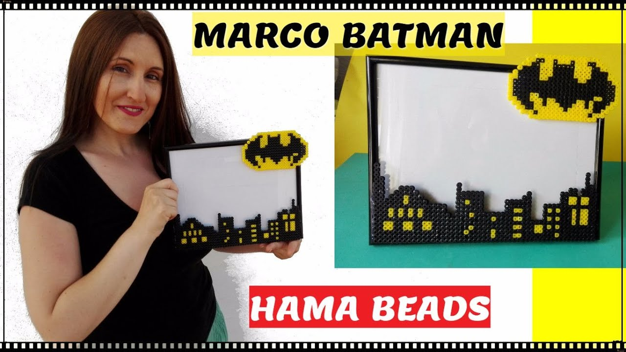 Batman marco de fotos con hama beads tutorial lolicrafts - Hama beads cuadros ...