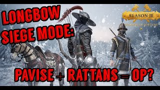 Conqueror's Blade Longbow: Valley Fortress Siege Defense! (Pavise + Rattan Rangers)