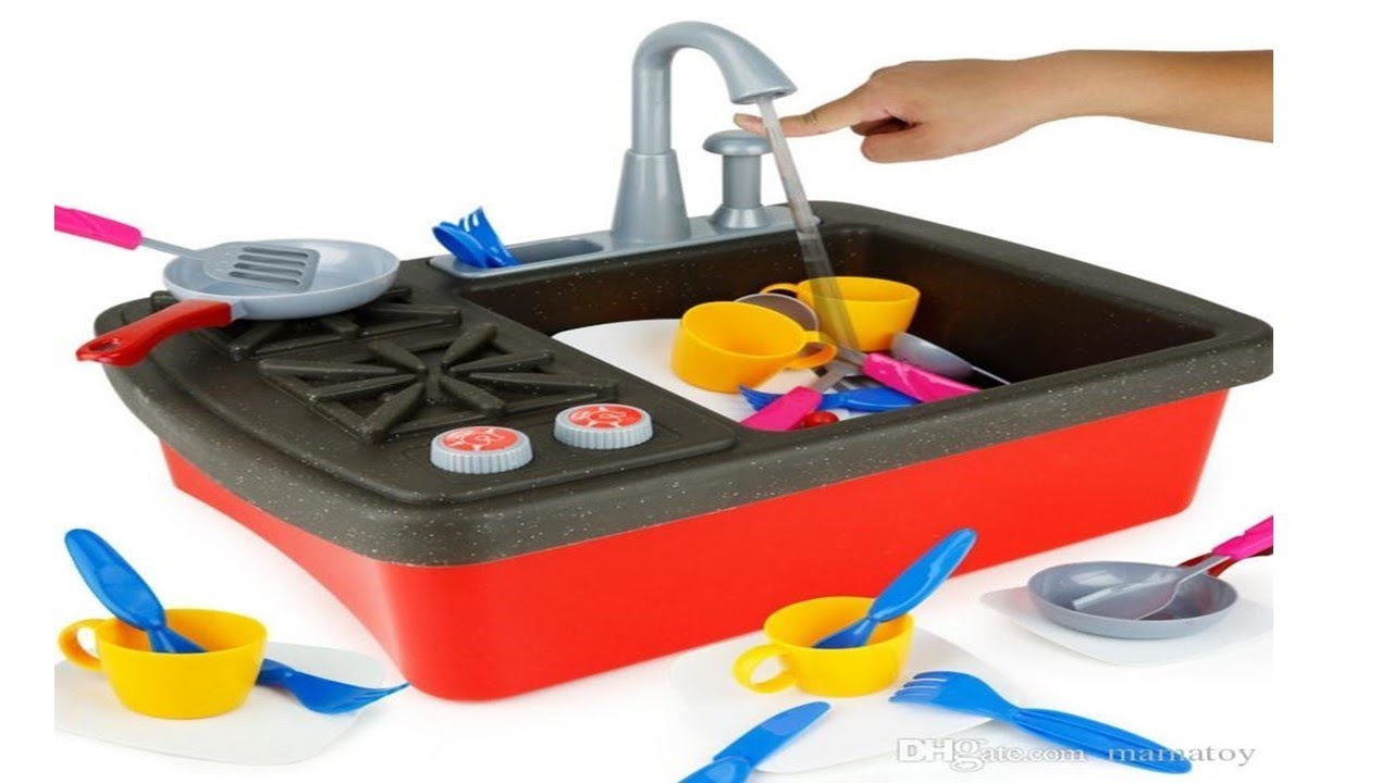 STOVE TOP KITCHEN FAUCET PLAYSET WITH WORKING WATER PUMP AND COOKING ...