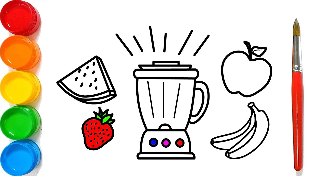 Como Dibujar Y Colorear Una Licuadora Frutas Para Colorear Youtube