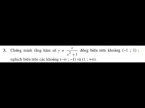 Bài tập 3 trang 10 SGK Giải Tích 12 (Sự đồng biến, nghịch biến của hàm số)