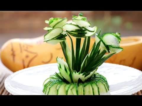 Art In Cucumber Show  | Vegetable Carving Garnish | Cucumber Rose