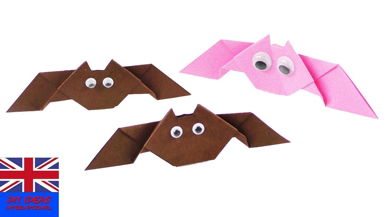 make your own origami bat halloween decoration idea 3d folding easy tutorial for kids youtube