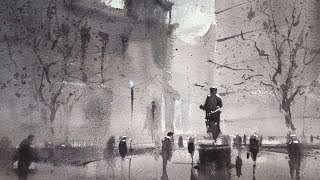 "Advancing with Watercolor : Developing a Motif - Edges ""Copley in the Rain"""