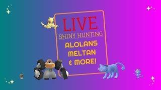 LIVE Shiny Hunting!  Pokemon Let's Go: Shiny Meltan, Shiny Alolan Meowth, and Shiny Abra!!