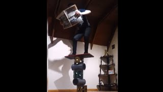 Guy Reads The Newspaper Standing On Top Of Rola Bola Balance Board