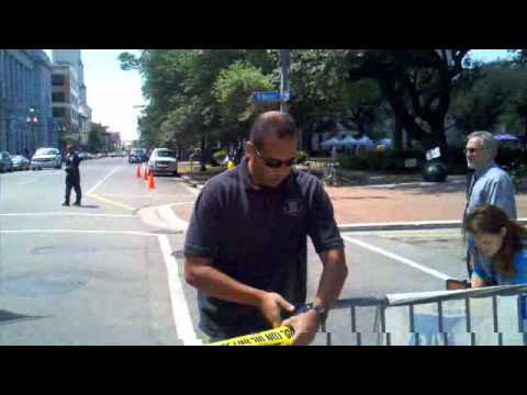 Raw Video: Police Tape Off Area Near Suspicious Package Investigation