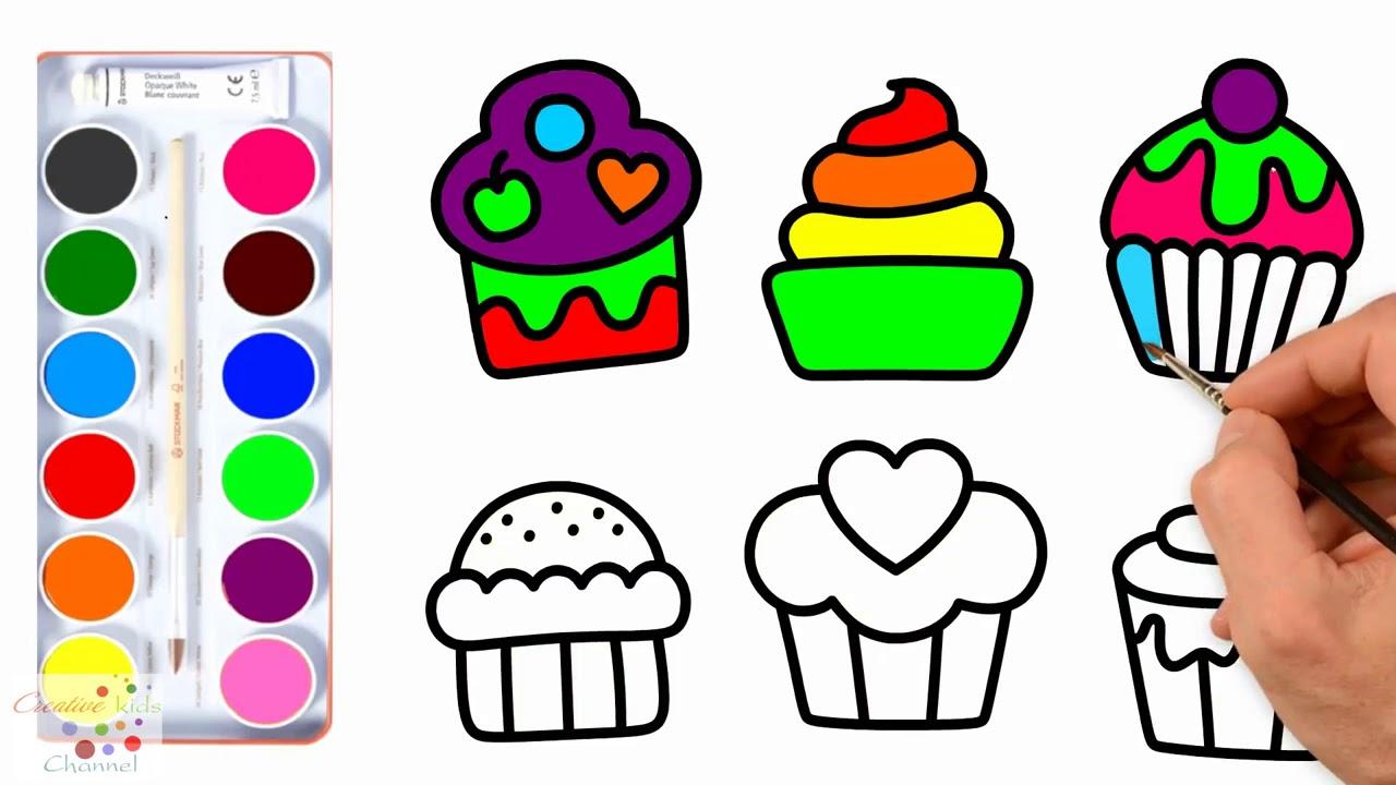 Cupcakes Set Coloring Book For Childrens Drawing Kek Boyama