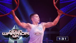 Deren Perez is the first to beat Crazy Cliffhanger | Ninja Warrior UK