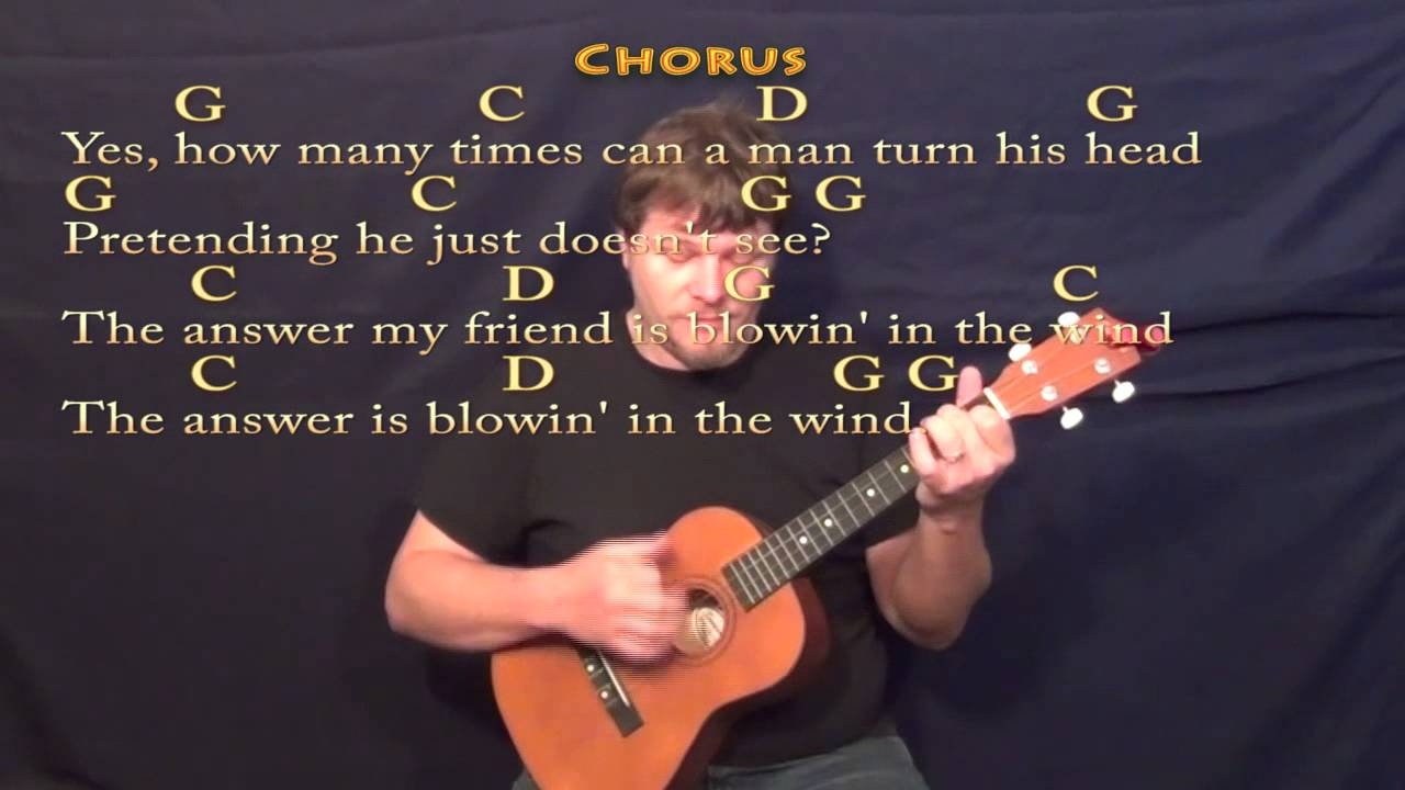 Blowin In The Wind Bob Dylan Bariuke Cover In G With Chords