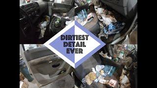 Detailing Dirtiest Car Interior Ever Ep. 9 White Chevy Silverado