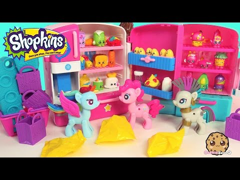Pop MY Little Pony Pinkie + Rainbow Dash Are Unboxing Shopkins Season 2 + 3 In Fridge Playset