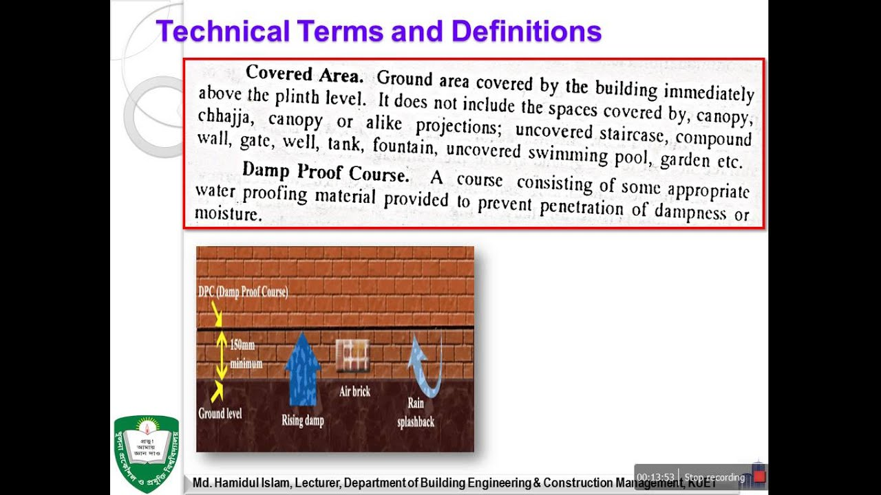 Technical terms and definitions of building construction for Building terms