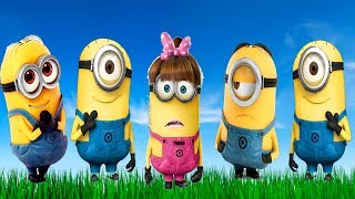 Minions Five Little Babies Jumping On The Bed Educational Video Good Song for Kids