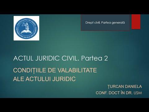 Conf. univ. dr. Daniela Turcan — Actul juridic civil - conditiile de validitate (MD)