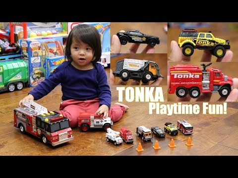 Toy Cars for Kids: TONKA Diecast Cars & Trucks and Plastic Fire Trucks Unboxing with Marxlen