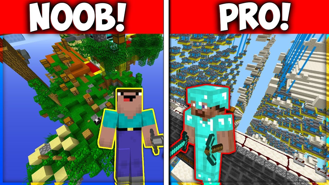NOOB VS PRO MINECRAFT SKYBLOCK ISLAND! - YouTube
