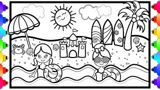 How to Draw a Beach Scene for Kids 🌈🏖🌈Beach Coloring Page for Kids 🐠💙🐠