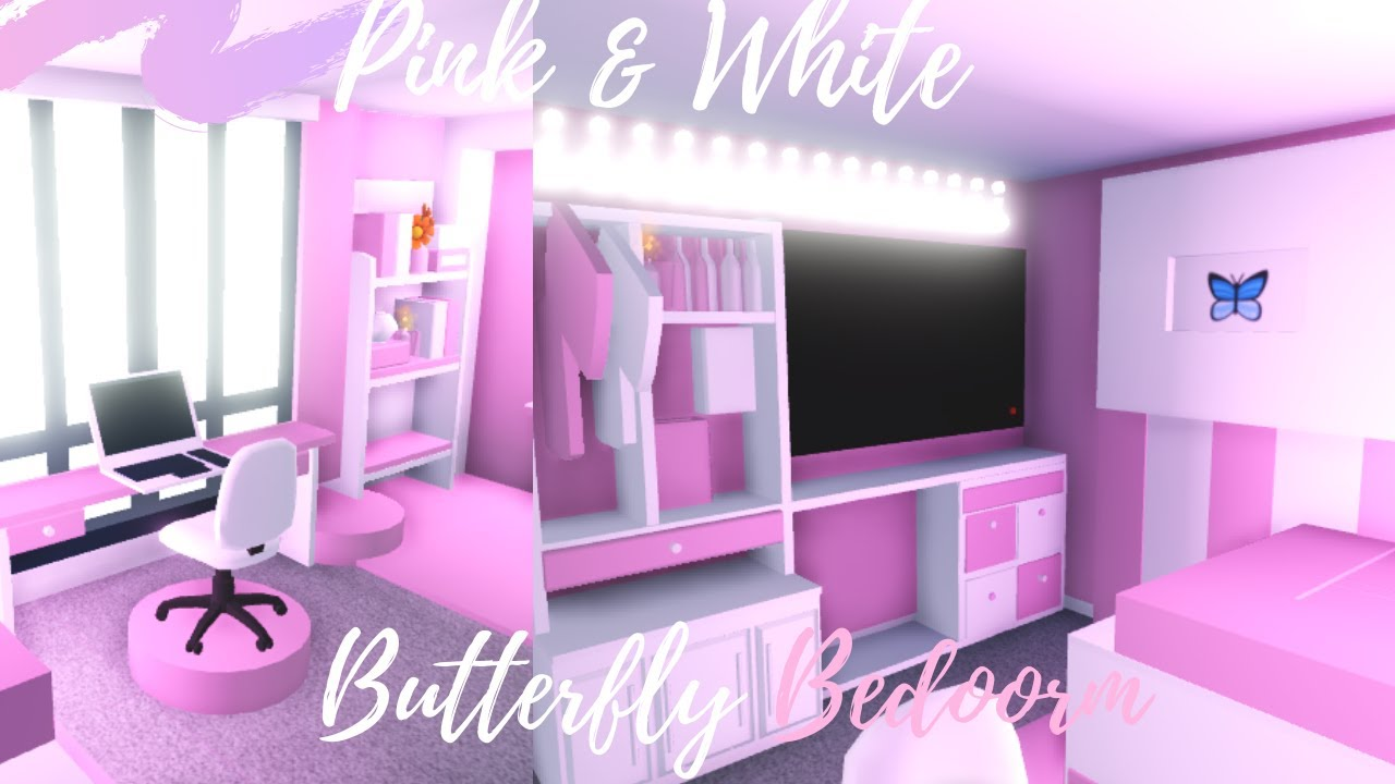 Pink&White Butterfly BEDROOM SPEEDBUILD ♡Adopt me Roblox