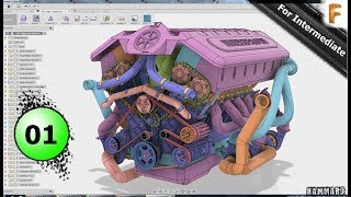 Fusion 360 Modeling V12 Engine EP 01 😍   Full HD