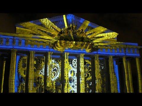 Фестиваль огня Рождественская Звезда Световое шоу на здании биржи Рождество 2018 Санкт Петербург СПб