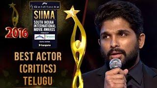 SIIMA 2016 Best Actor(Critics) Telugu | Allu Arjun - Rudramadevi