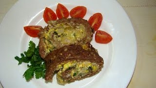 Вкуснейший мясной рулет с яйцом(Delicious meatloaf with egg)