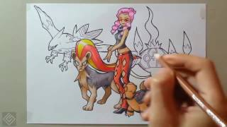 Elite Malva (Pokemon XY) - Speed Drawing | Labyrinth Draw