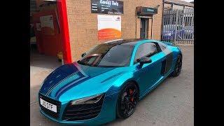 Audi R8 Wrapped Chrome Blue