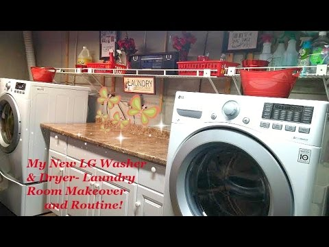 Review Pt 2 - LG Front Load Washer & Dryer, Laundry Room Makeover and  Laundry Routine!