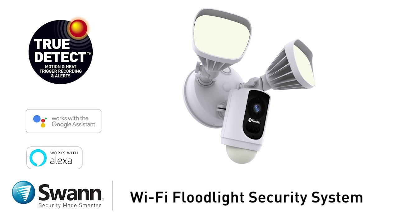 Swann Floodlight Security Camera System Overview Full HD 1080, Alarm Siren,  2-Way Talk
