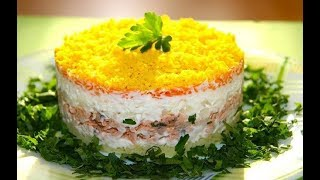 Легкие салаты. Салат Мимоза. Готовим салаты. Домашние рецепты. Простые салаты