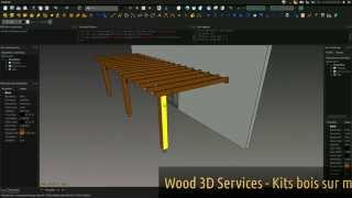 Kit Pergola Murale Bois - Freecad - Wood 3d Services