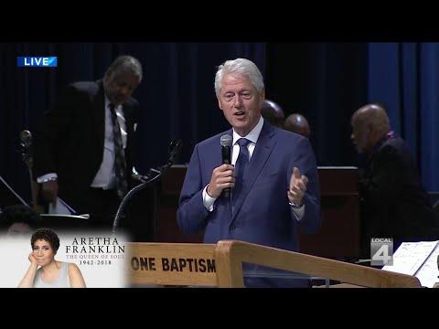 Former President Bill Clinton speaks at Aretha Franklin's funeral