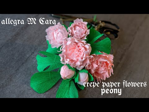 703 DIY Peony Crepe Paper Flower  / Paper Craft Tutorial
